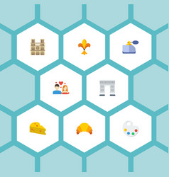 Flat icons archway cheddar palette and other vector