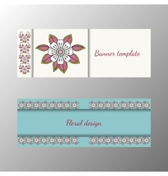 Floral pattern horizontal banner collection vector