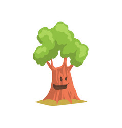 Funny humanized tree with cheerful face expression vector