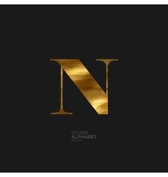 Golden letter n vector