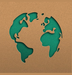 Green papercut world map on recycled paper vector