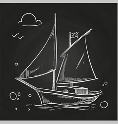 hand sketched boat on blackboard white vector image