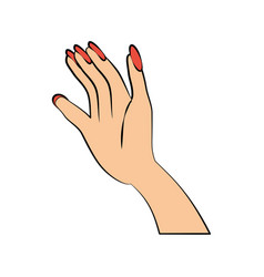 hand woman color nails vector image