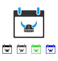 Horned helmet calendar day flat icon vector