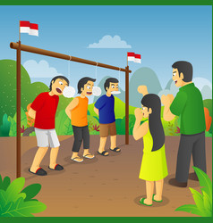 Indonesia independence cracker eating competition vector