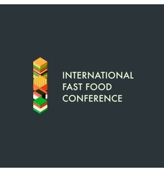 International fast food conference template logo vector