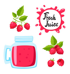 Juice with raspberry in a glass bank vector