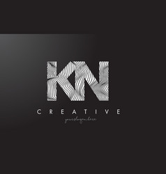 Kn k n letter logo with zebra lines texture vector