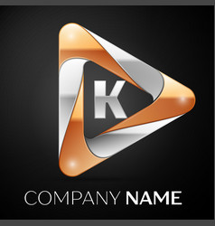 letter k logo symbol in the colorful triangle on vector image
