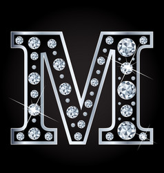 M letter made with diamonds isolated on vector