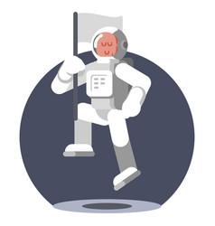 man cosmonaut in helmet jumps vector image