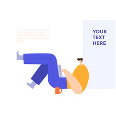 man lying with a laptop male cartoon character vector image