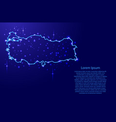 Map turkey from the contours network blue vector