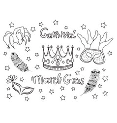mardi gras fat tuesday collection icons vector image