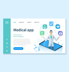 Medical app with doctors services online web vector