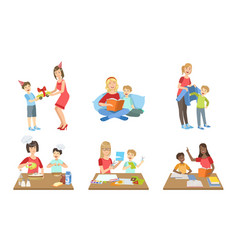 Mother and son performing daily activities vector