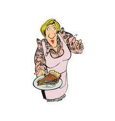 mother cooking pizza cartoon character vector image