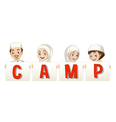 muslim kids holding sign for camp vector image