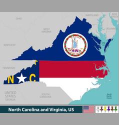 north carolina and virginia united states vector image