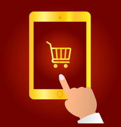 online shopping concept finger touches tablet vector image