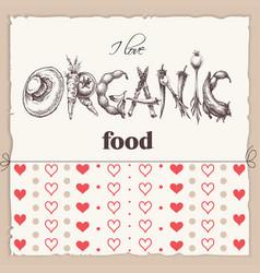 organic food label word organic vector image