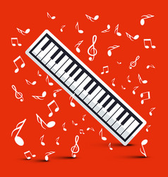 piano with notes on red background vector image
