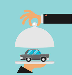 Picture of human hand holding tray with car flat vector