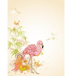 pink flamingo and butterflies vector image