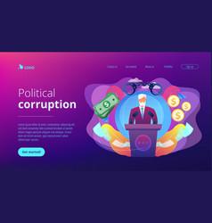 Political corruption concept landing page vector
