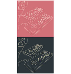 retro gamepads closeup vector image