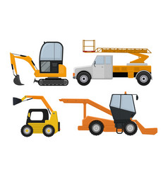 road cleaning machine excavator tractor vector image