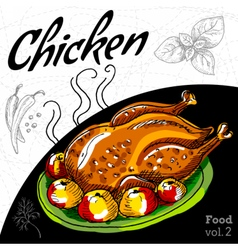 Roasted grill chicken vector