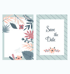 save date banners invitations with foliage vector image