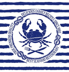 Seafood restaurant emblem with crab vector image