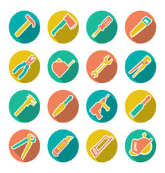 Set flat icons of tools for repair and building vector