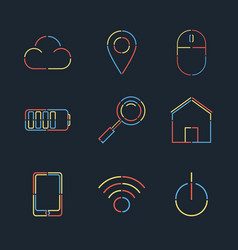 set of creative linear web flat style vector image