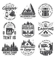 Set of happy camper outdoor adventure symbol vector