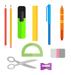Set school supplies pens pencils scissors and vector