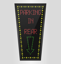 Shining retro light banner parking in rear vector