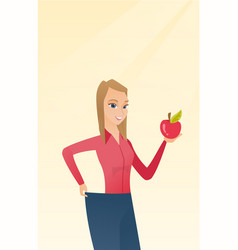 Slim woman in pants showing results of her diet vector