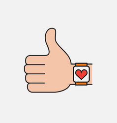smart watch health flat icon vector image