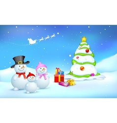 Snowman Family with Christmas gift vector