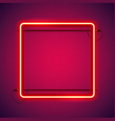 Square red neon frame vector