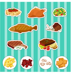 Sticker set with different types of food vector