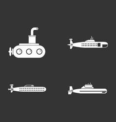 submarine icon set grey vector image