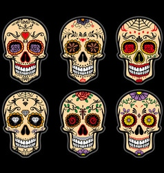 Sugar skull day dead set vector