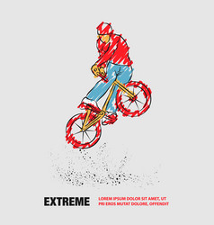 Trick on bmx bike outline extreme cyclist vector