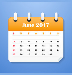 usa calendar for june 2017 week starts on sunday vector image