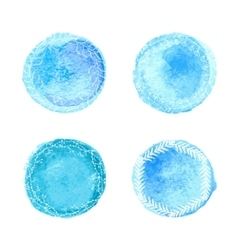 Watercolor circles with flotal pattern vector
