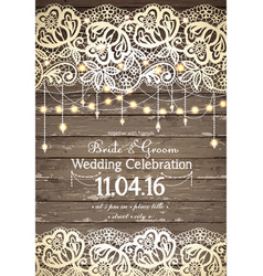 Wedding invitation card beautiful lace with vector